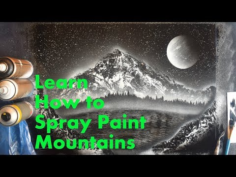 Black and White Beginners SPRAY PAINT ART Tutorial - How to Make Basic Mountains thumbnail