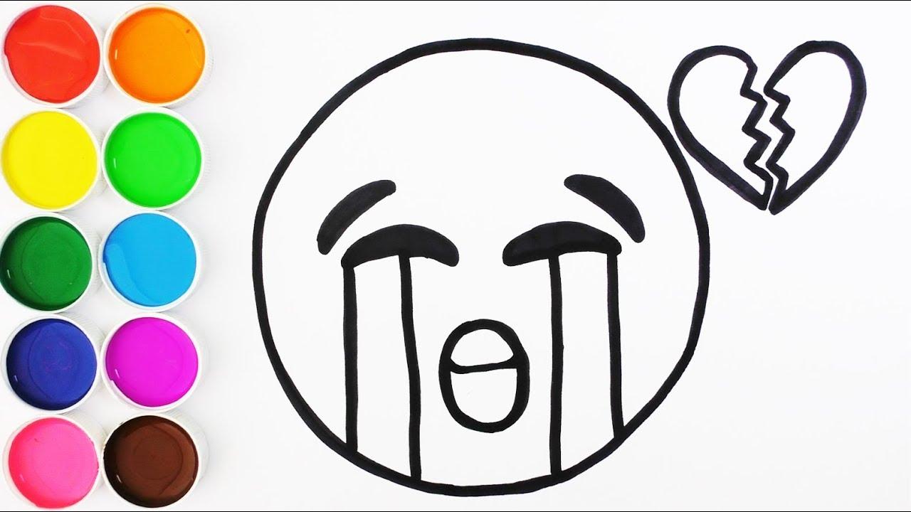Como Dibujar Y Colorear Un Emoji Llorando Dibujos Para Niños Y Bebes Learn Colors Funkeep
