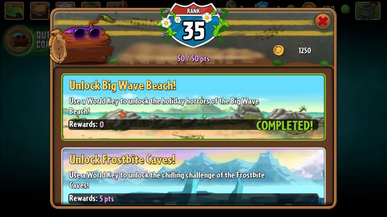 plants vs zombies 2 travel log all quests completed rank 48