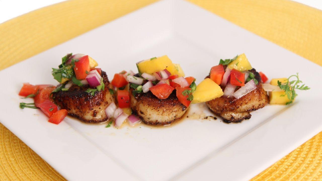 seared scallops with mango salsa recipe laura vitale laura in the kitchen struffoli laura in the kitchen recipes