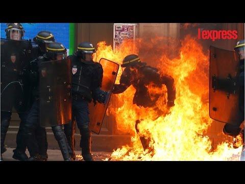 Violence dans la manifestation: 62 interpellations et un policier brûlé