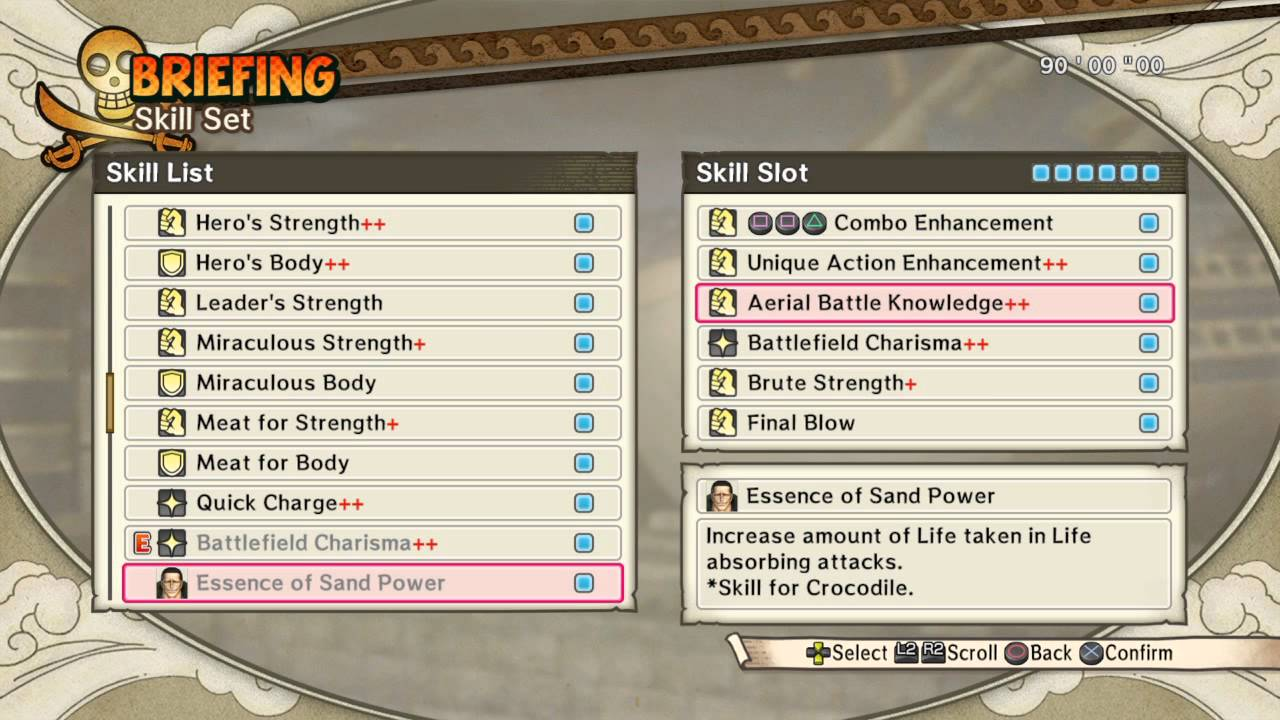 one piece pirate warriors choosing skills one piece pirate warriors 3 choosing skills