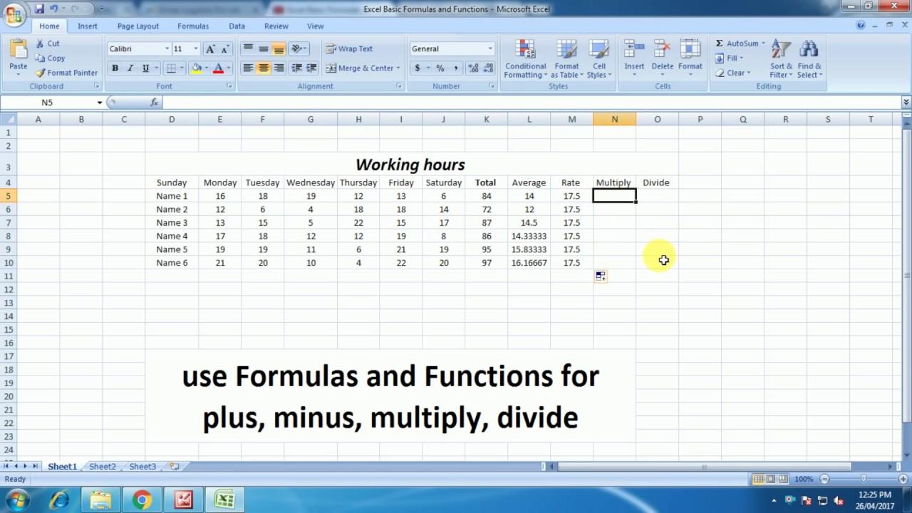 use formulas for plus minus multiply divide ms excel. Black Bedroom Furniture Sets. Home Design Ideas