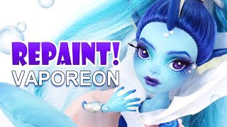 Repaint! Vaporeon Pokemon Eeveelution Custom Monster High Ooak Doll