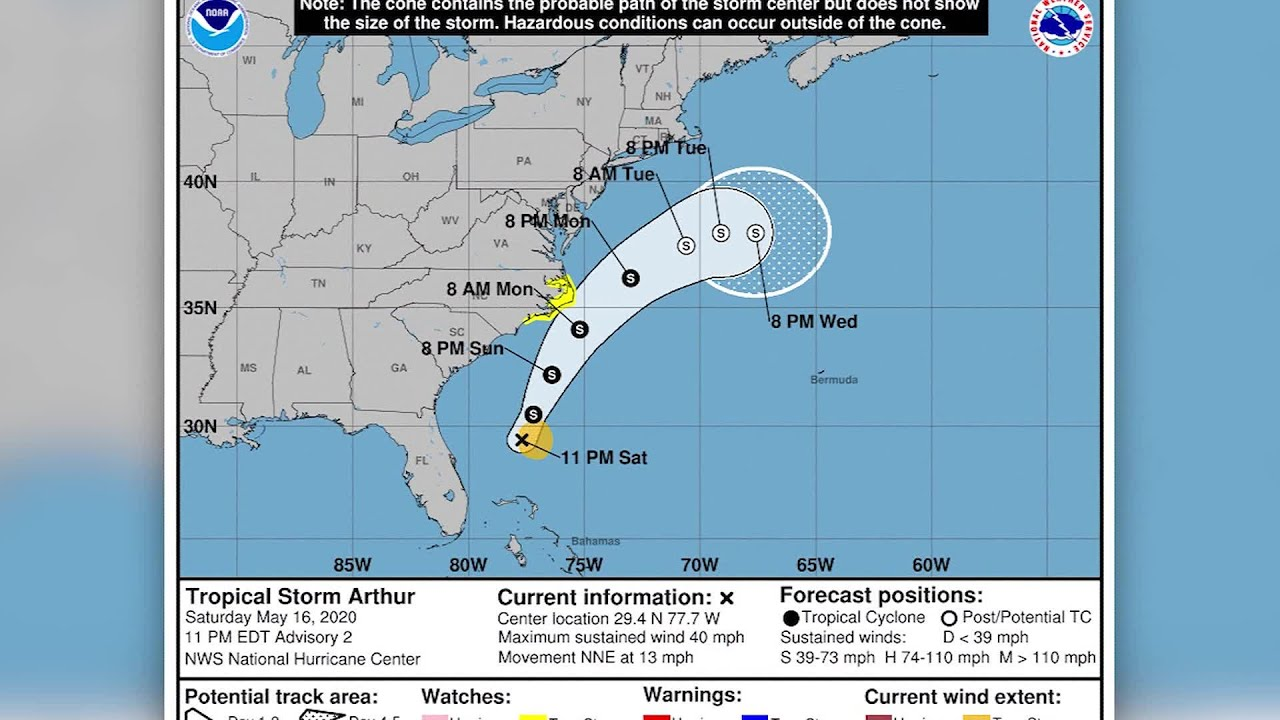 Tropical Storm Arthur inches closer to U.S. East Coast