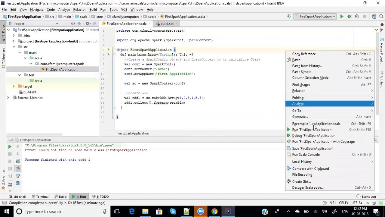 creating first spark project in IntelliJ with SBT