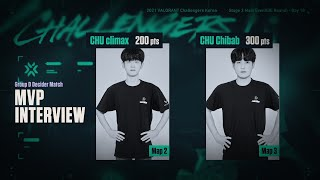 CHU Chibab climax-MVP Interview|MainEvent DE Day10 GroupD DeciderMatch 08.01|VALORANT Challengers KR