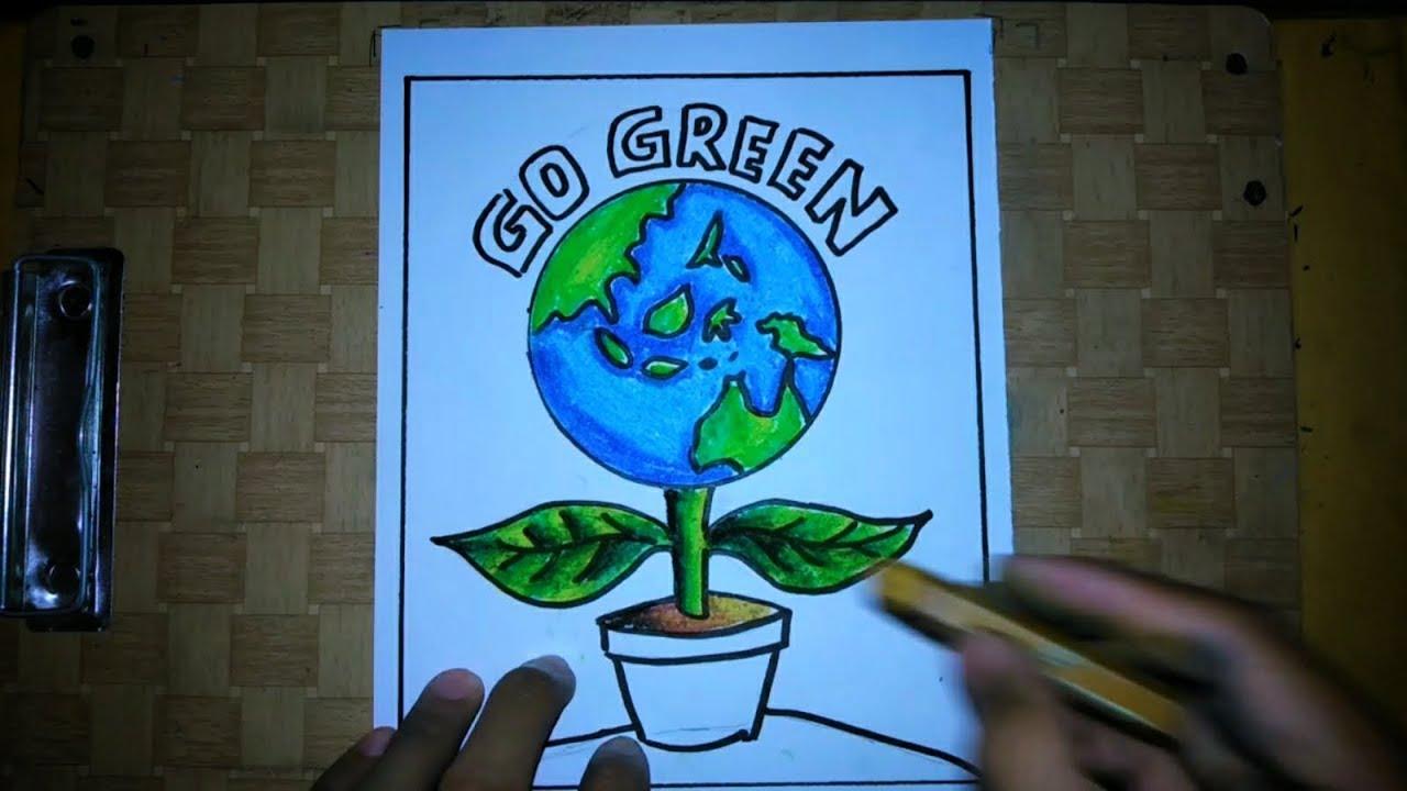 Cara Membuat Poster Go Green Bumi Hijau Youtube