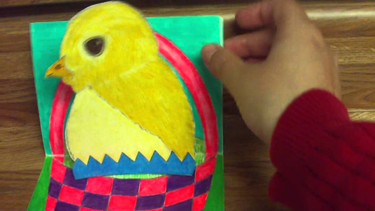 Making A Happy Easter Baby Chick Pop Up Card Part 2 YouTube – Easter Pop Up Cards