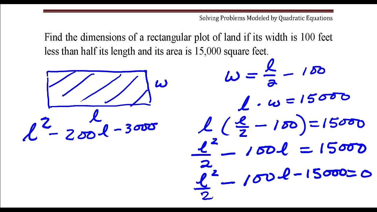 Rectangular Plot Of Land With Area