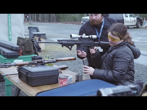 Teaching a beginner how to handle firearms (with Cara and William)