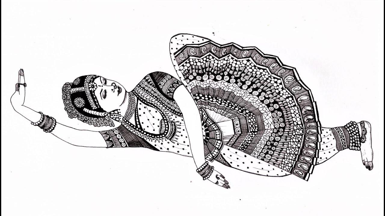 Beautiful Girl In Indian Classical Dance Pose Drawing Using Mandala Art Draw Bharatanatyam Dancer Youtube