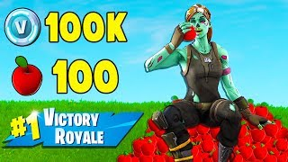 1 Game + 1 Win + 100 Apples!  -  100k V-BUCKS CHALLENGE