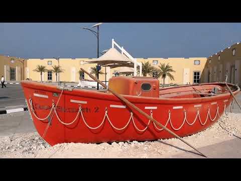 Life boat of Queen Elizabeth 2 Cruise Ship at Port Rashid in Dubai 09.11.2017