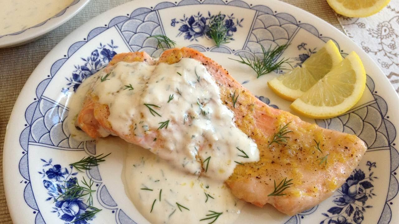 Salm n al horno con lim n y salsa cremosa de eneldo fresco for Como cocinar salmon plancha