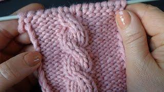 Вязание косы на спицах Узор 6   Knitting pattern