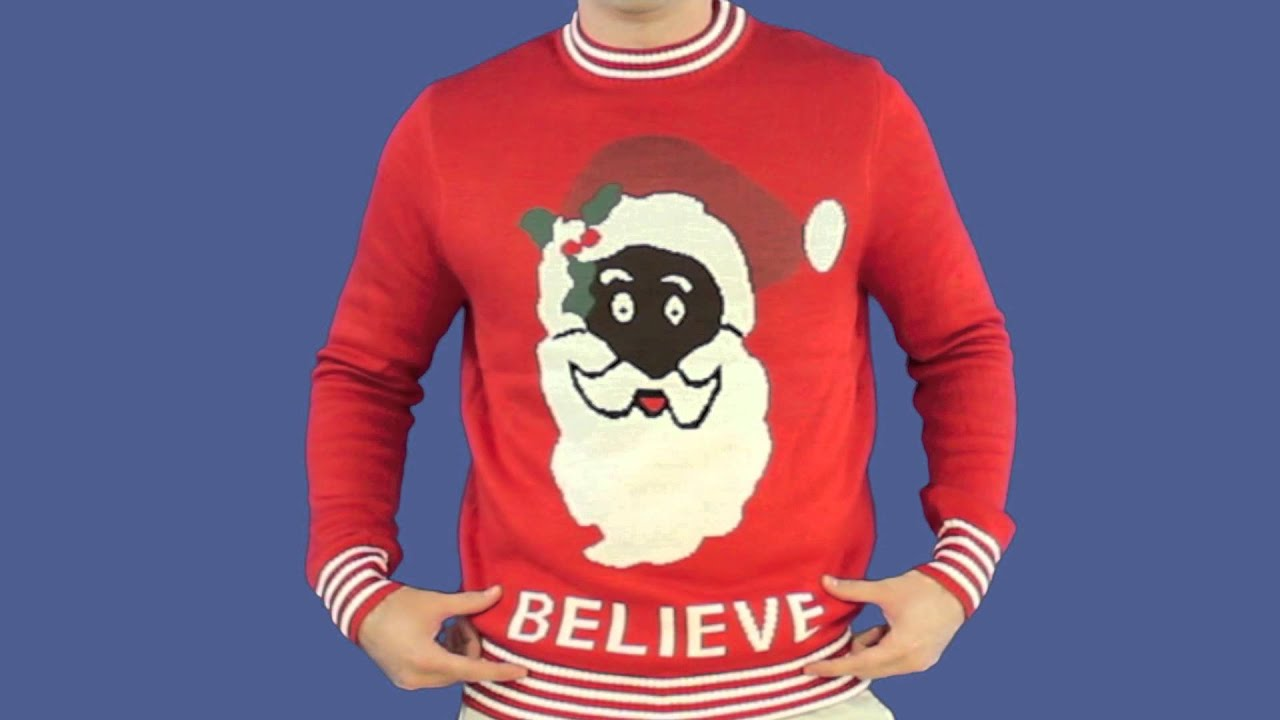 Ugly Christmas Sweater - Black Santa Sweater by Tipsy Elves - YouTube