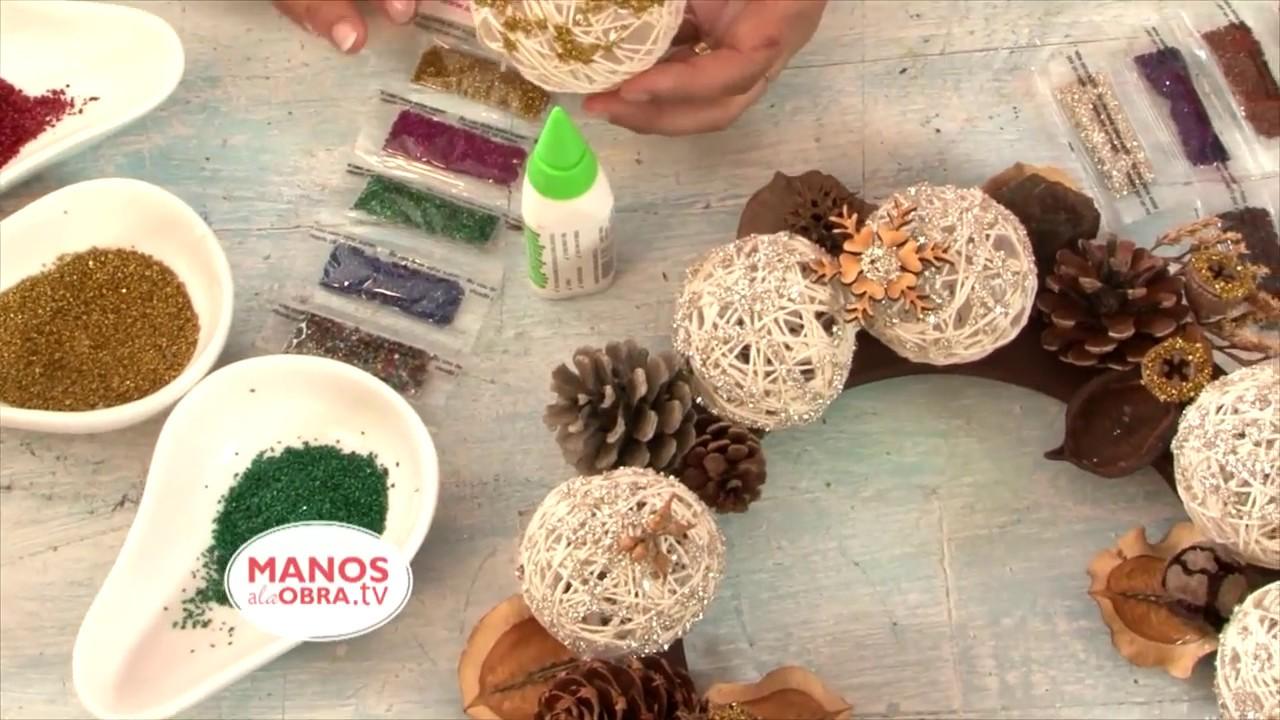 Esferas de navidad con hilo y globos decoracion navide a - Decorar el arbol de navidad con manualidades ...