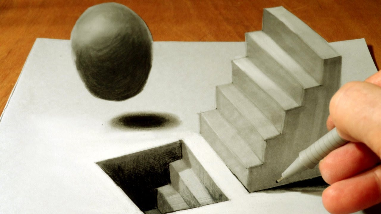 Drawing Staircase and Sphere  How to Draw 3D Staircase