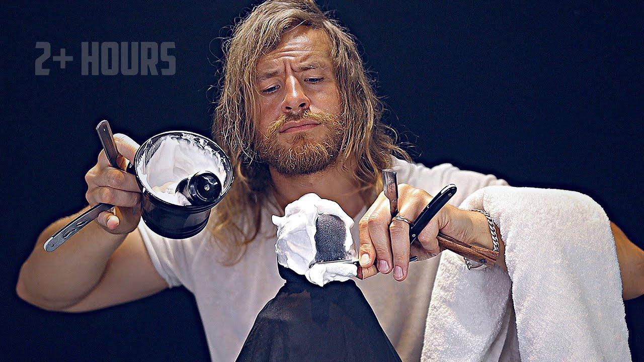 RAW | Barbershop Wet Towel Shave Sounds [2+ Hours] 💈ASMR🪒