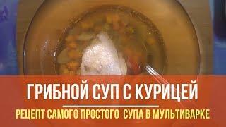 Самый простой грибной суп в курицей в мультиварке