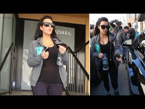 Pregnant Kim Kardashian Causes A Stir While Leaving The Gym [2013]