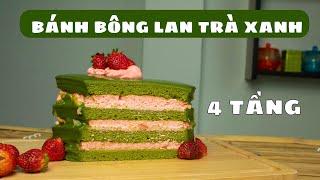 Cách Làm Bánh Bông Lan Trà Xanh Kem Dâu 4 Tầng | Bánh Siêu Dễ Thương Cho Buổi Họp Mặt Ấm Cúng