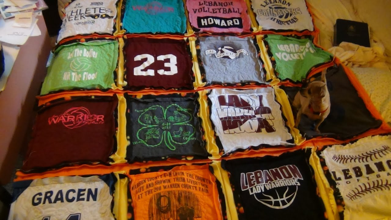 GRACEN'S T SHIRT QUILT FOR GRADUATION - YouTube : making a t shirt quilt - Adamdwight.com