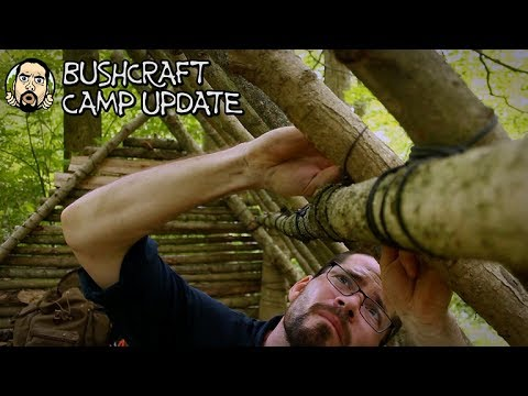 Making a Bushcraft Camp: Roof Work, Raised Bed, Cooking at Camp (Part 9)