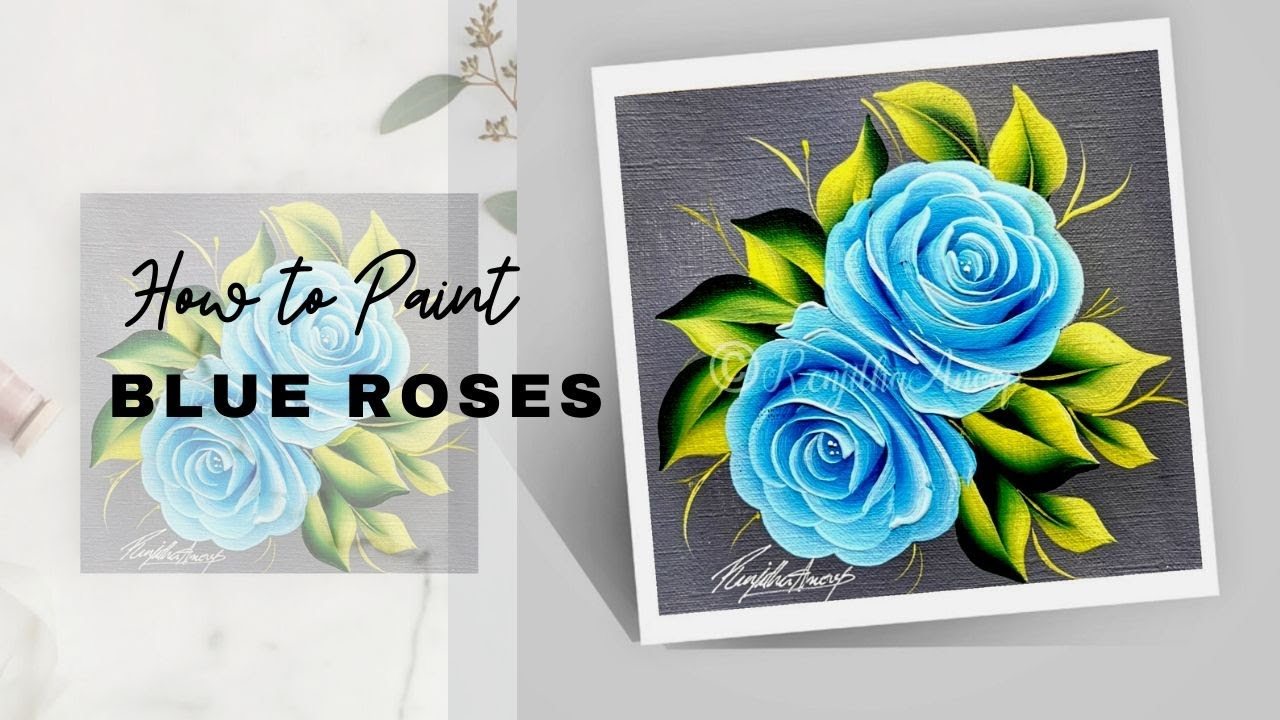 step by step simple and easy acrylic painting Roses flower ...