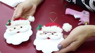 Enfeite de Papai Noel usando feltro