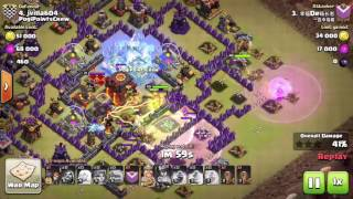Clash of Clans, TH10, MAX Valkyrie attack, 3 stars in Clan war, attack 3