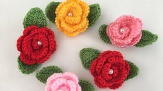 🌷🍃Tığ işi  Kolay Gül Çiçek Yapımı🌹🍃kolay örgü çiçek/Gül motif çiçek/örgü yaprak