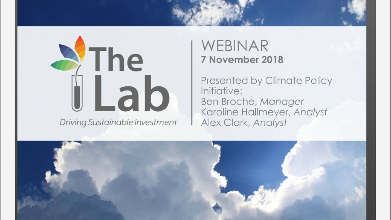 The Lab: Driving Sustainable Investment. Webinar on the 2019 Call for Ideas