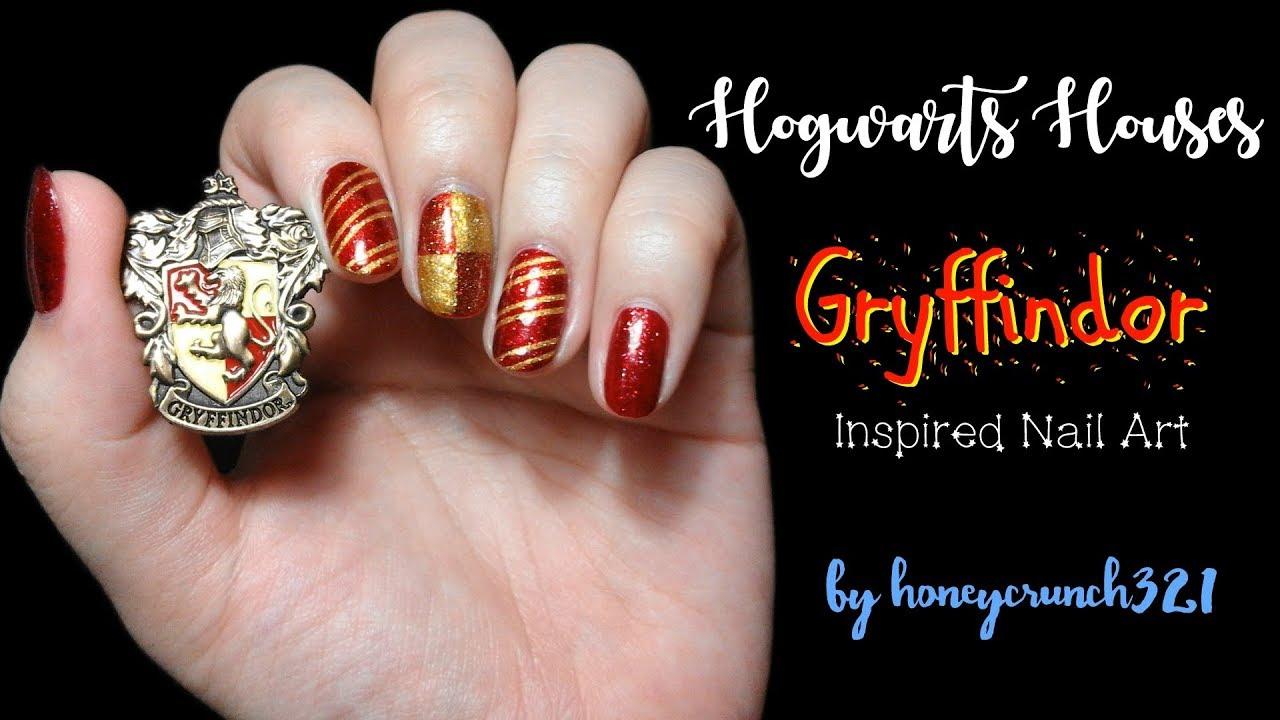 Gryffindor Inspired Nail Art Honeycrunch321 Youtube