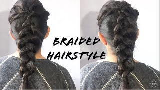 Braided Hairstyle for Lehenga Saree /Voluminous Braid Wedding Guest Hairstyle/Anchal Beniwal