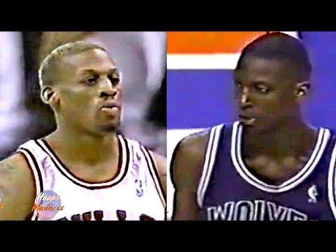 Dennis Rodman vs Kevin Garnett 1st Meeting in Chicago! Rodman 24 Rebounds & Schools Rookie KG!