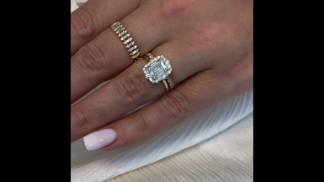 1.9 carat Emerald Cut Halo Engagement Ring