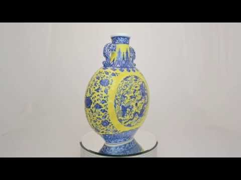 """A RARE AND BEAUTIFUL BLUE AND YELLOW """"MOON FLASK""""  QING DYNASTY, QIANLONG MARK AND PERIOD"""