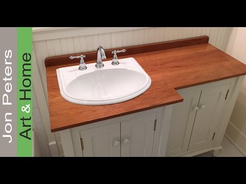How To Make A Wooden Vanity Top Countertop YouTube - Counter top bathroom sinks
