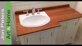 How To Make A Wooden Vanity Top / Countertop And Set The Sink