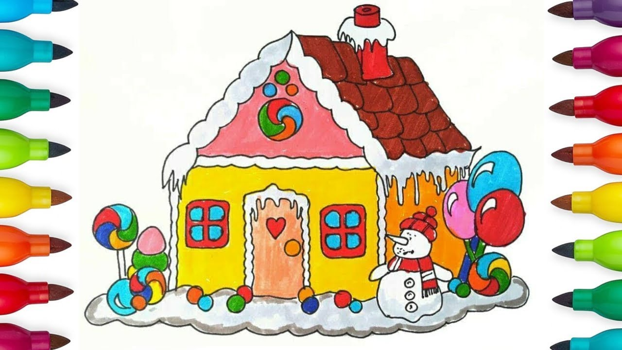 How To Draw A Christmas House For Kids Christmas Coloring Pages