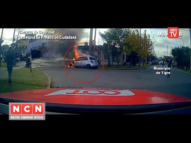 CINCO TV - Las cámaras de Tigre fueron claves para detectar y controlar un incendio vehicular