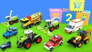 Polizei & Feuerwehrauto, Betonmischer, Bagger, Krankenwagen, Traktor | Spielzeug Unboxing für Kinder