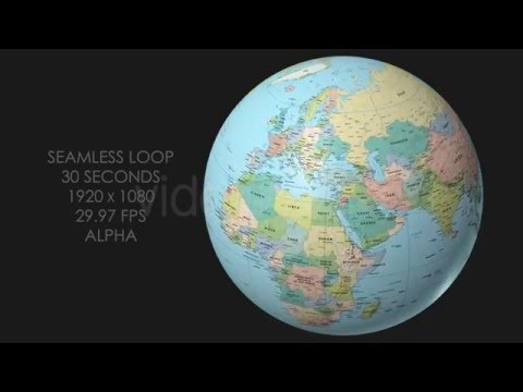 Rotating Globe World Political Map   Top View   YouTube