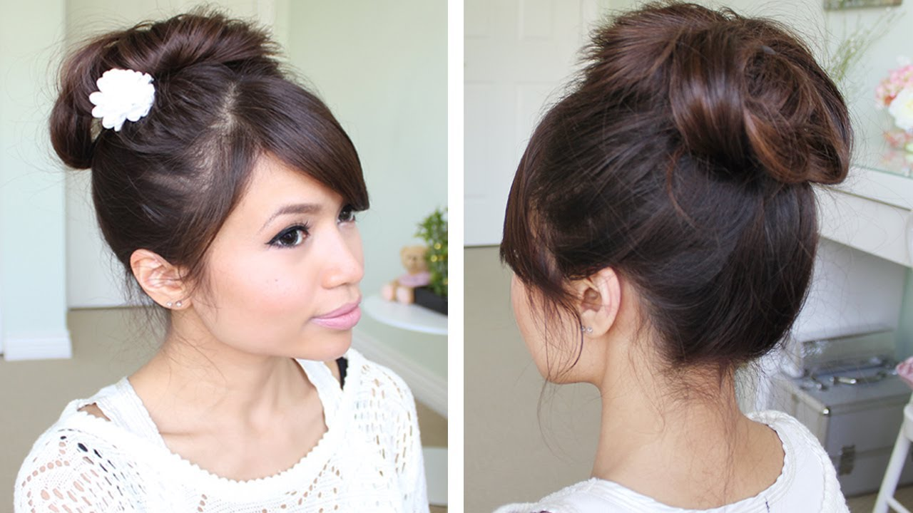 Messy Hair Bun Without Using Bobby Pins Hair Tutorial Youtube