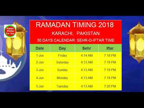 RAMADAN TIMING 2018 KARACHI,  PAKISTAN, Sehr AND Iftar TIMING