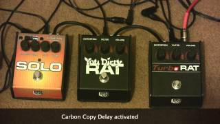 3 Proco Rat Pedals Demonstrated - Turbo Rat, You Dirty Rat, Solo Rat With Vigier Excalibur Ultra