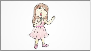 How to draw a girl singing with microphone step by step