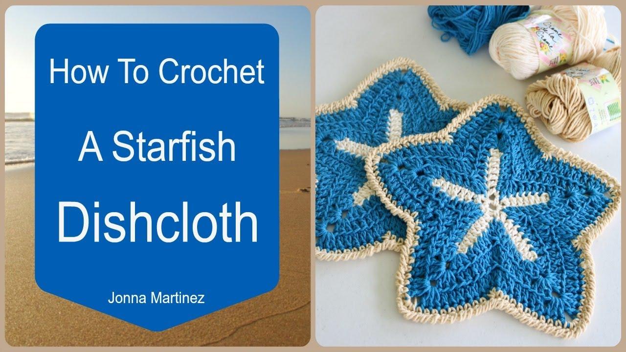 How To Crochet A Starfish Dish Cloth - YouTube